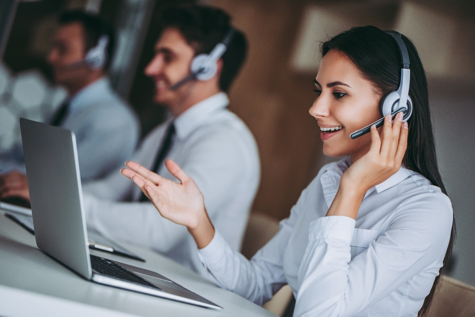 Woman on a call in a Contact Center