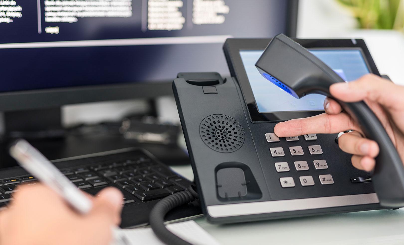 Dialing-on-modern-digital-PBX-phone