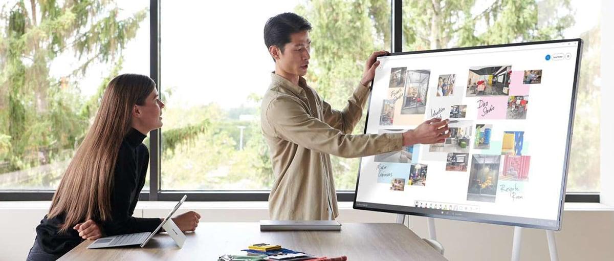 Man using Surface Hub 2S