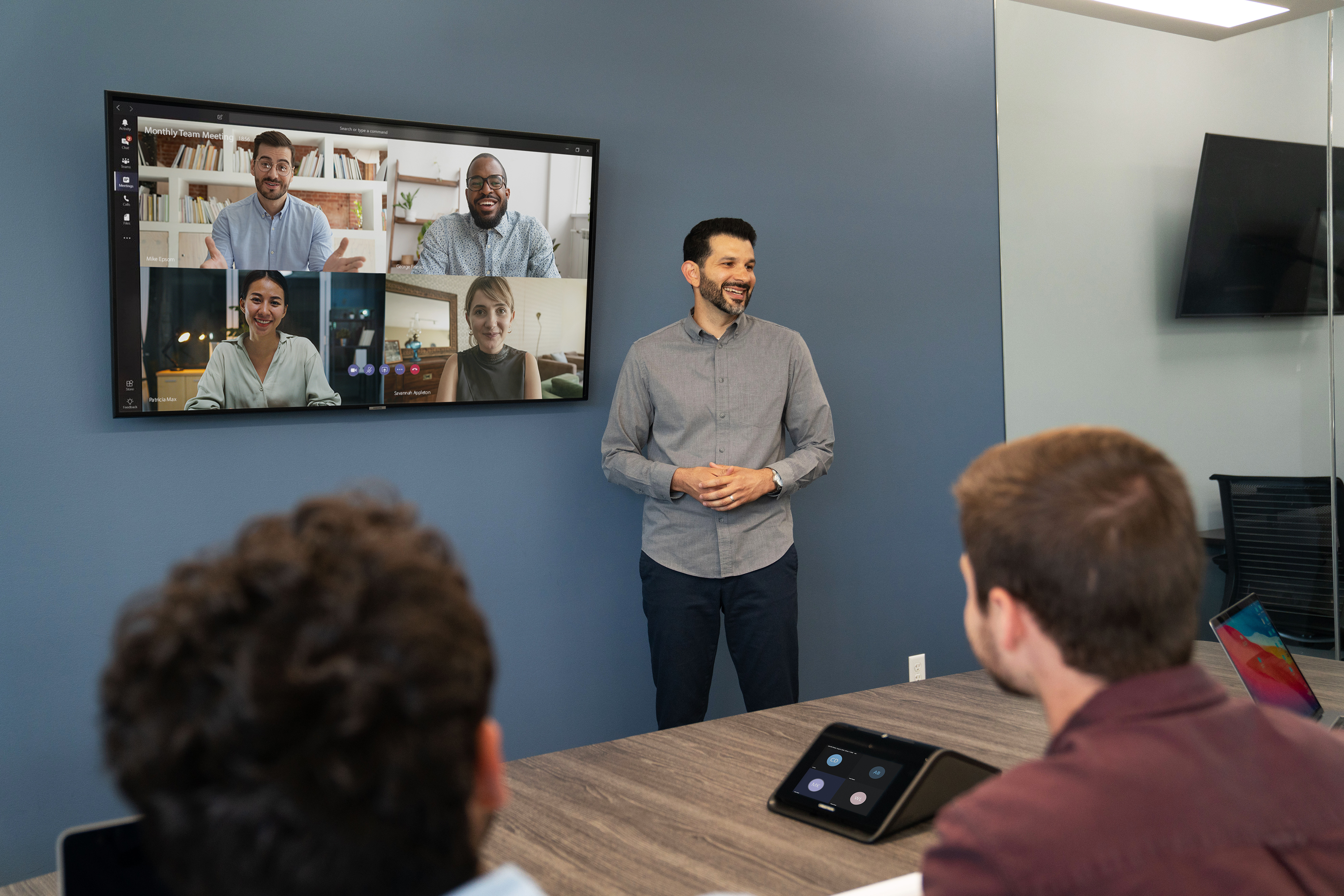 Meeting room video chat on wall screen-1