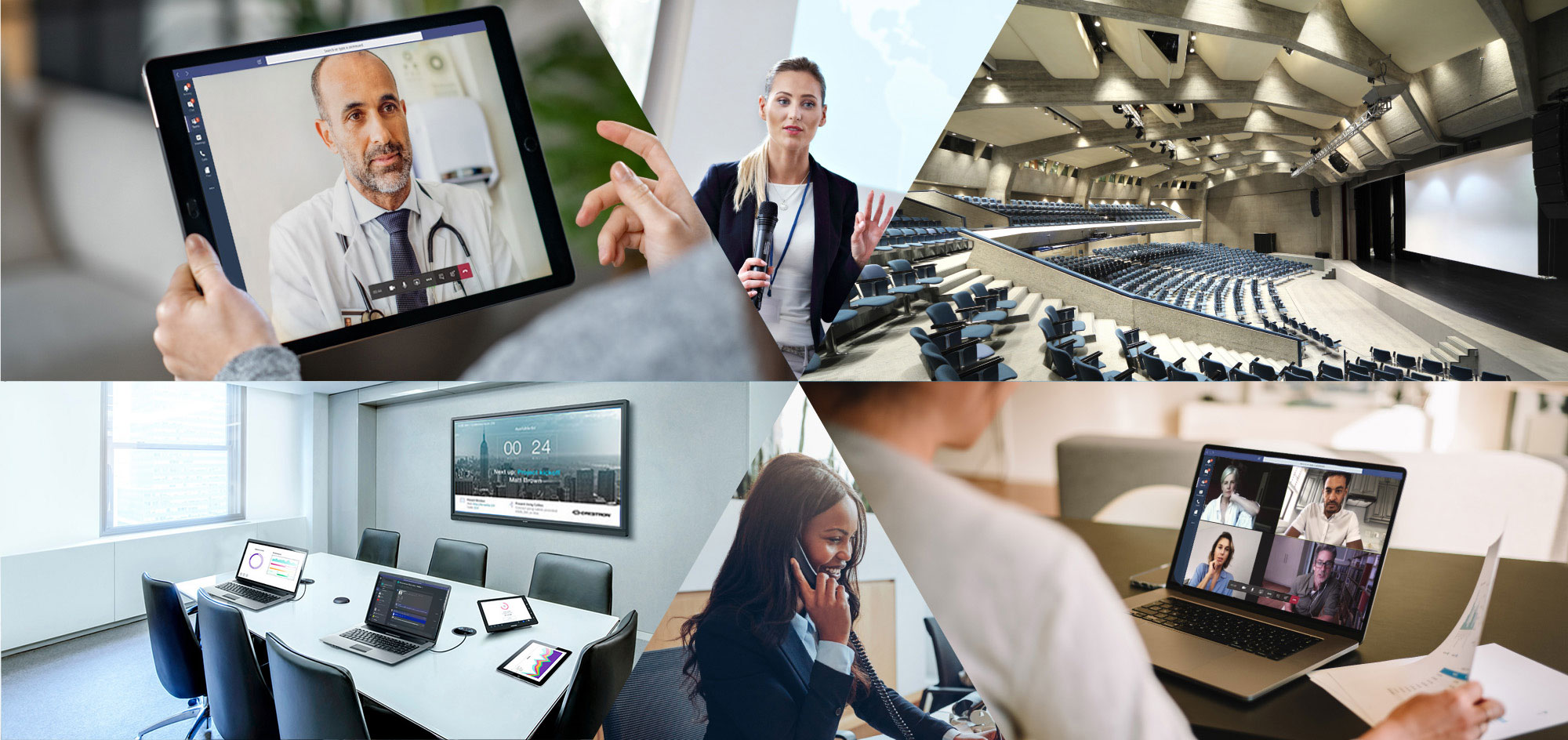 Hero image - people workin with business technologies
